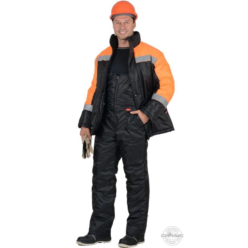 СПЕЦМОНТАЖ костюм зимний, куртка, п/к чёрный с оранжевым и СОП