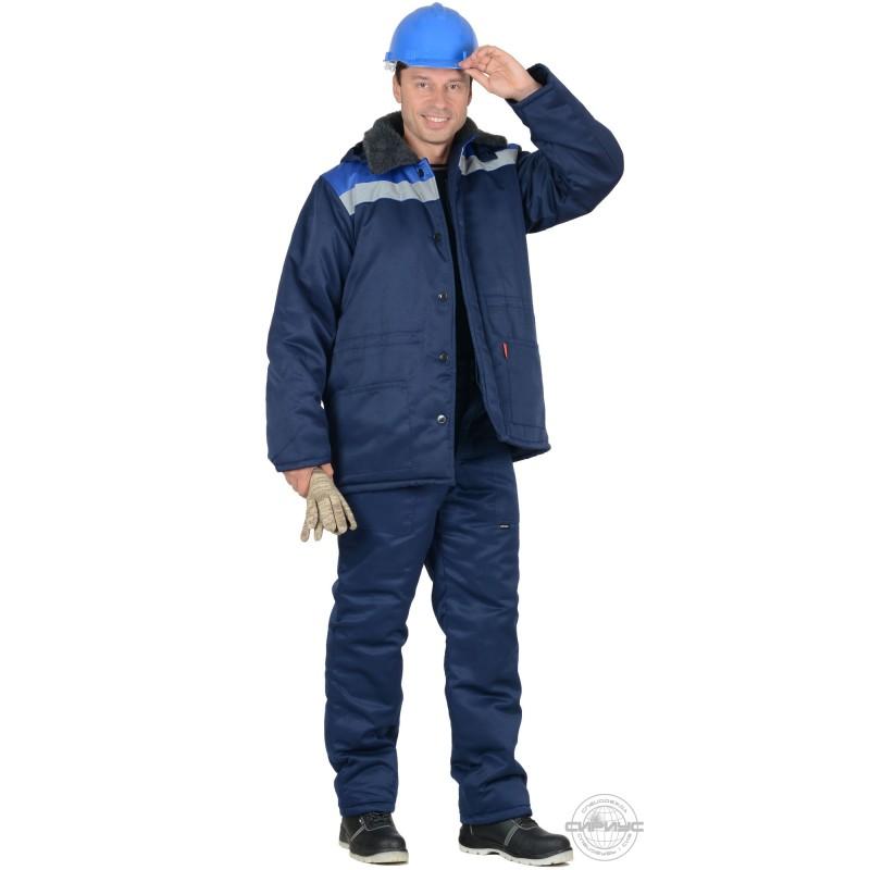 БРИГАДИР костюм мужской с меховым ворот. синий с васильковым и СОП