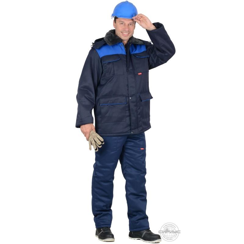 ПРОФЕССИОНАЛ костюм зимний, куртка дл., п/к тёмно-синий с васильковым