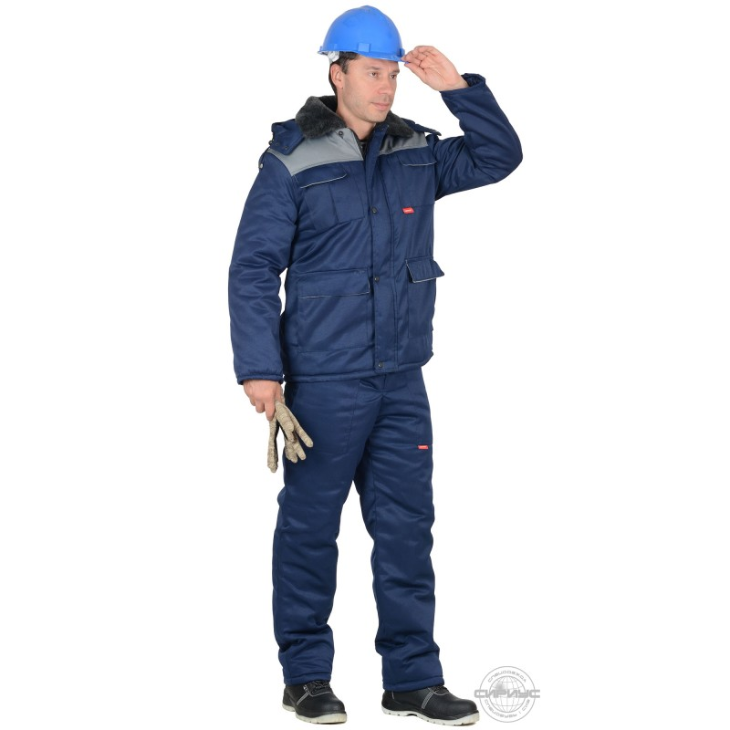 ПРОФЕССИОНАЛ костюм зимний, куртка дл., п/к тёмно-синий с серым