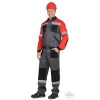 ЛИГОР костюм, куртка, брюки т.серый с красным и черным и СОП 50мм
