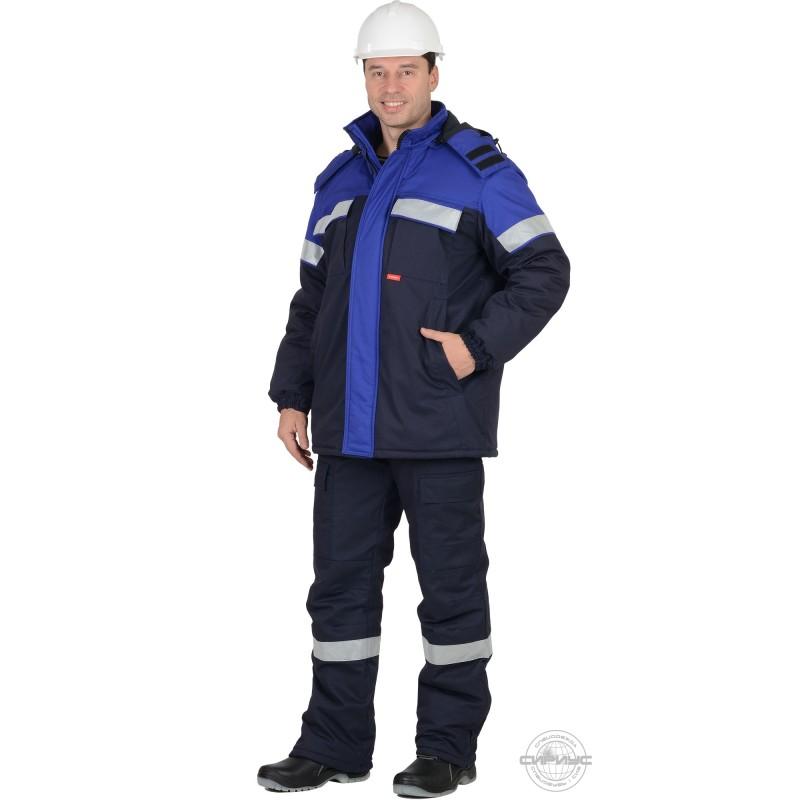 СУРГУТ-С костюм зимний, куртка, п/к, антистат, т.син. с васильковым с СОП 50мм