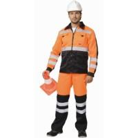 МАГИСТРАЛЬ-ЛЮКС костюм, куртка, брюки оранжевый с чёрным и СОП