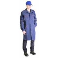 ПРОФИ-2 халат муж. темно-синий с оранж., тк.Саржа (210г/м, 100% х/б)