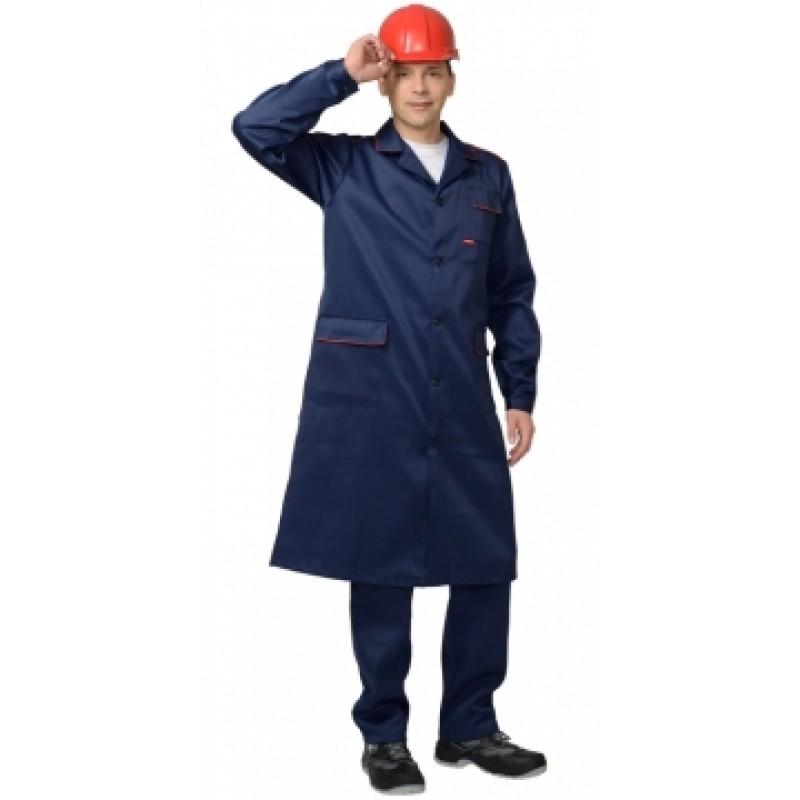 ТЕХНИК халат мужской тёмно-синий с красным