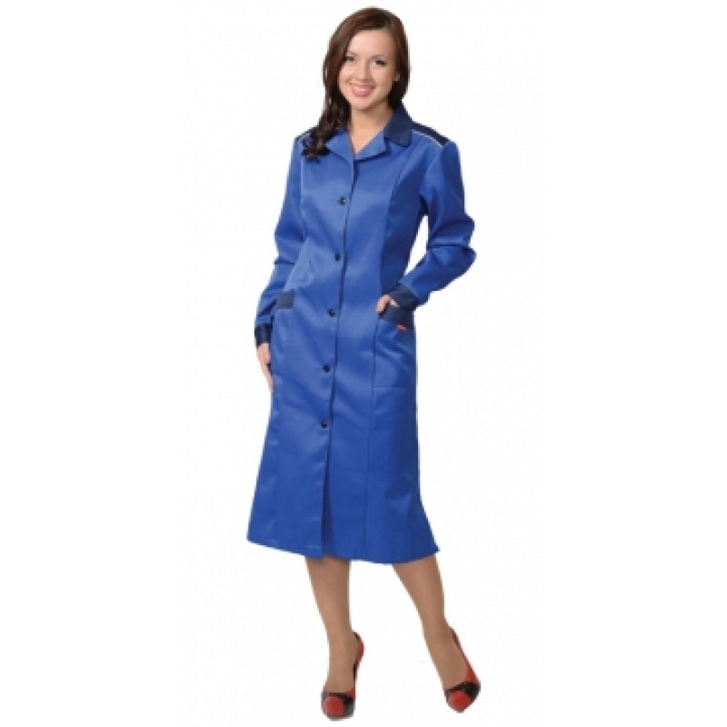 ТЕХНОЛОГ халат женский (тк. смесовая) василёк с тёмно-синим