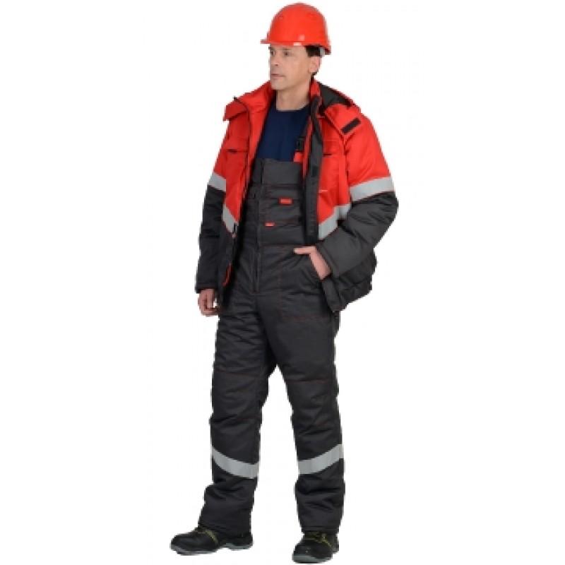 НАВИГАТОР костюм зимний, куртка кор., п/комб. т.серый с красным и СОП