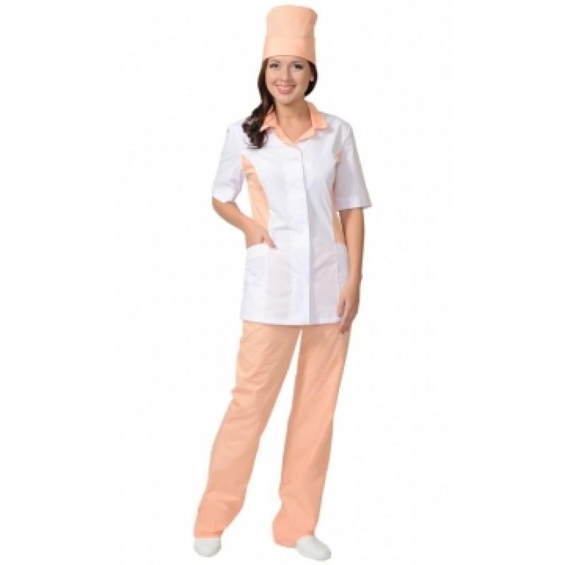 ФЛОРЕНЦИЯ костюм женский, куртка, брюки, колпак белый с персиковым