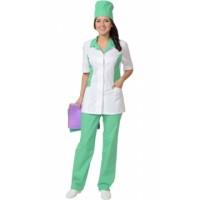 ФЛОРЕНЦИЯ костюм женский, куртка, брюки, колпак белый с салатовым