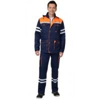 ЛИДЕР костюм летний, куртка, полукомбинезон синий с оранжевым и СОП 25 мм