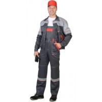 МАЯК костюм, куртка, п/к т-серый со св.серым и красным и СОП 50мм