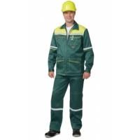 МЕХАНИК костюм, куртка, брюки зелёный с жёлтым и СОП 25 мм тк.CROWN-230