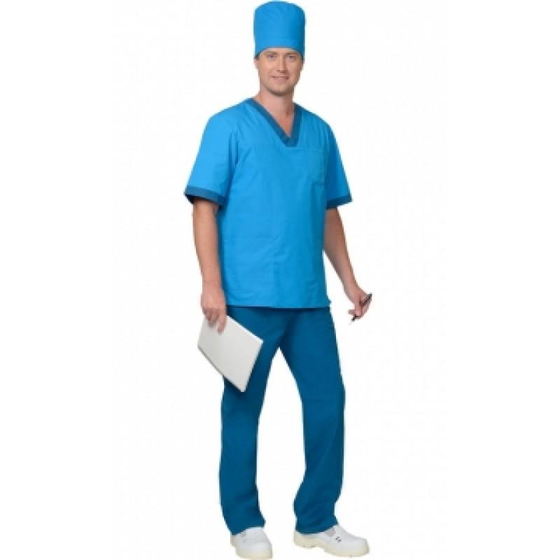 РЕАЛ костюм мужской, куртка, брюки, колпак светло-синий с бирюзовым
