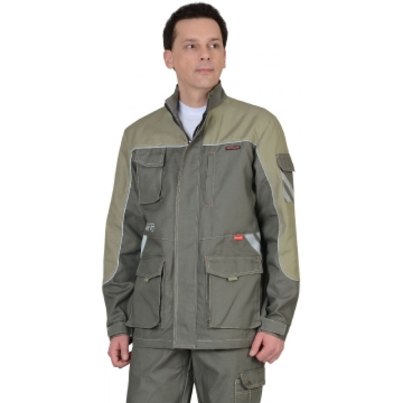 ВЕСТ-ВОРК куртка удлиненная, т.оливковый со св.оливковым