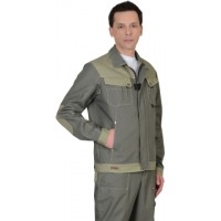 ВЕСТ-ВОРК куртка короткая, т.оливковый со св.оливковым
