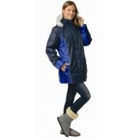 КАРЕЛИЯ куртка дл., женская тёмно-синяя с васильковым