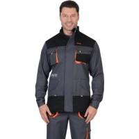 МАНХЕТТЕН куртка длинная темно-серая с оранжевым и черным