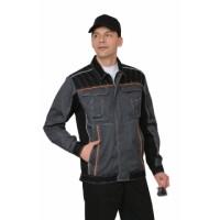 ПРЕСТИЖ куртка кор., летняя темно-серая с оранжевым кантом тк.Rodos (245 гр/кв.м)