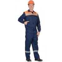 СИРИУС-МАСТЕР костюм летний, куртка кор., п/комб. темно-синий с оранж.