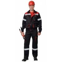 ТИТАН костюм, куртка кор., п/комб. черный с красным с СОП тк.CROWN-230