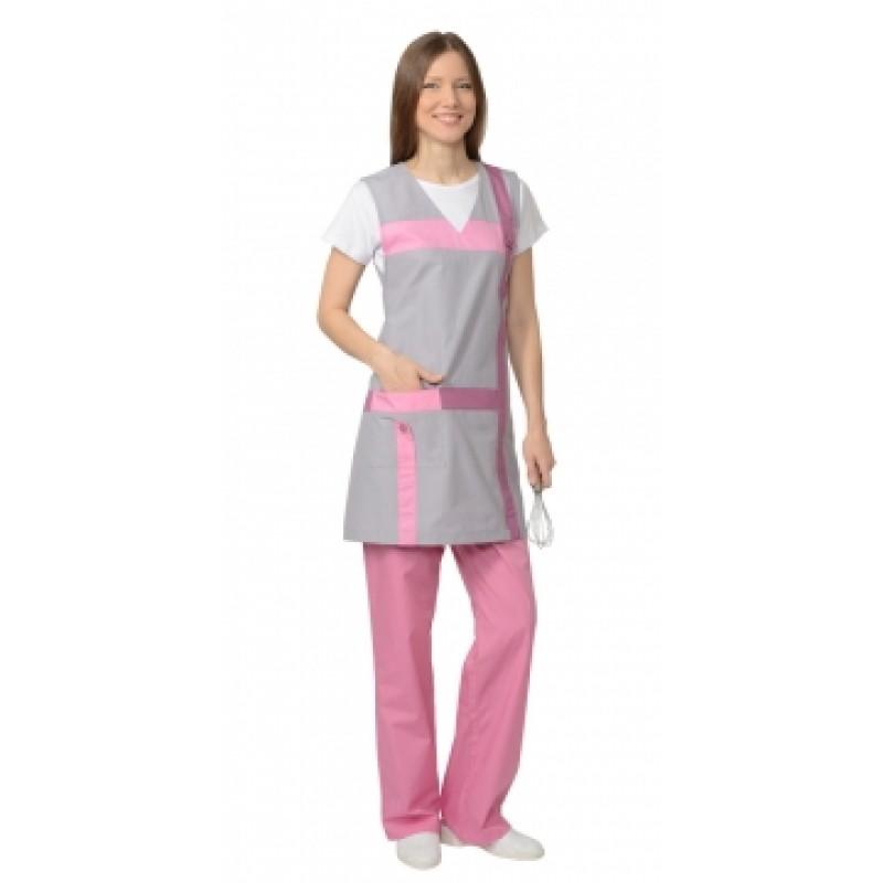 ГАЛАТЕЯ комплект женский, фартук, брюки серый с розовым