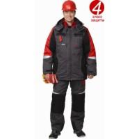 ФАВОРИТ-МЕГА костюм зимний, куртка дл.,п/комбинезон темно-серый с черным и красн. и СОП