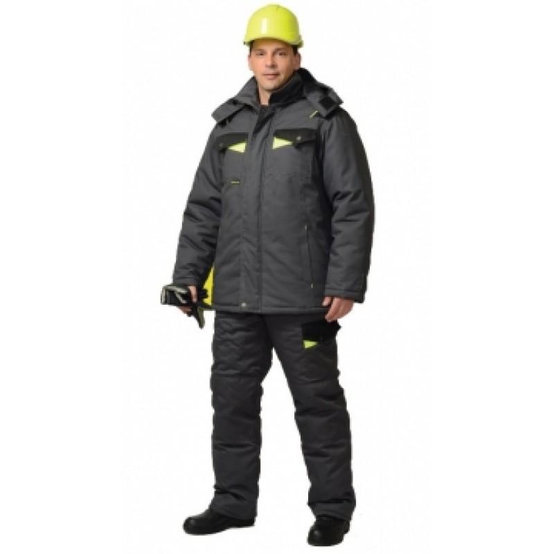 ХОВАРД костюм зимний, куртка дл.,брюки т.-серый с черным и лимон. отд. Тк. Rodos