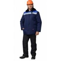 БРИГАДИР куртка мужская с меховым ворот. синий с васильковым и СОП