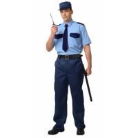 Рубашка охранника короткий рукав голубая с т.синим