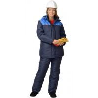 СНЕЖАНА костюм женский, куртка дл., п/комб. синий с васильковым