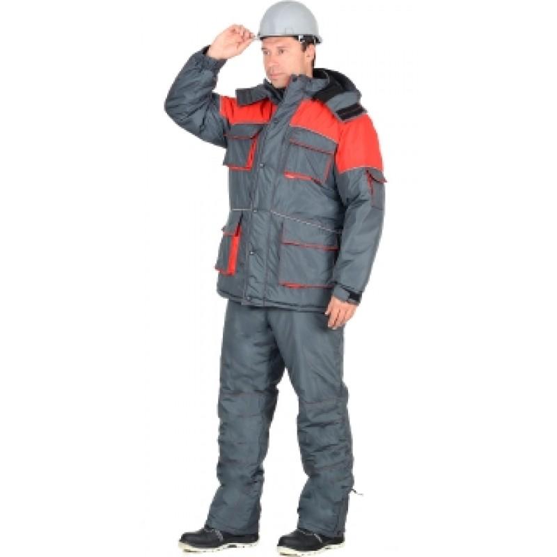 СПУТНИК костюм зимний, куртка длинная, брюки, цвет: темно-серый с красным