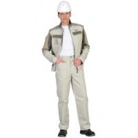КАСПИЙ костюм, куртка, брюки, молочный с оливой, песочным и СОП Тк. Rodos
