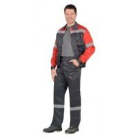 ЛЕГИОНЕР костюм летний, куртка, брюки т.серый с красным и СОП 50 мм