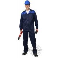АСПЕКТ костюм, куртка длин., брюки темно-синий с васильковым