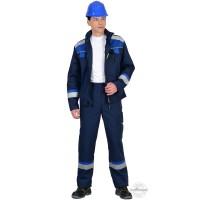 БОСТОН костюм, куртка, брюки темно-синий с васильковой и чер. отд.
