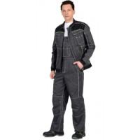 """ПРЕСТИЖ костюм, куртка, п/к """"Престиж"""" серый, цв. темно-серый с лимонным кантом"""