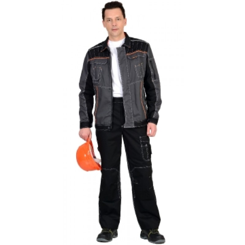 """ПРЕСТИЖ костюм, куртка, брюки """"Престиж"""" чёрный , цв. серый с оранжевым кантом"""