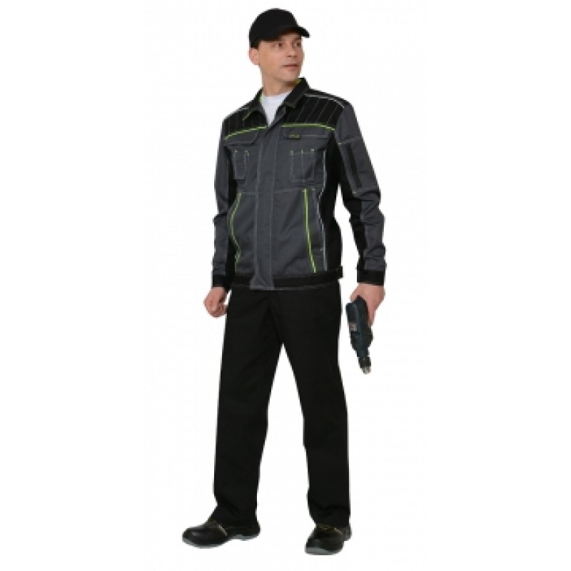 ПРЕСТИЖ костюм, куртка,брюки, цв. темно-серый с лимонным кантом