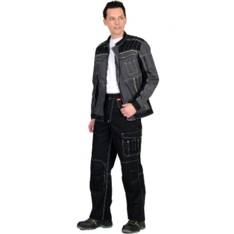 """ПРЕСТИЖ костюм, куртка, брюки """"Престиж"""" чёрный, цв. темно-серый с лимонным кантом"""