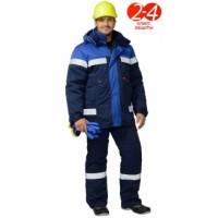 СУРГУТ костюм зимн., куртка, полукомбинезон тёмно-синий с васильковым и СОП