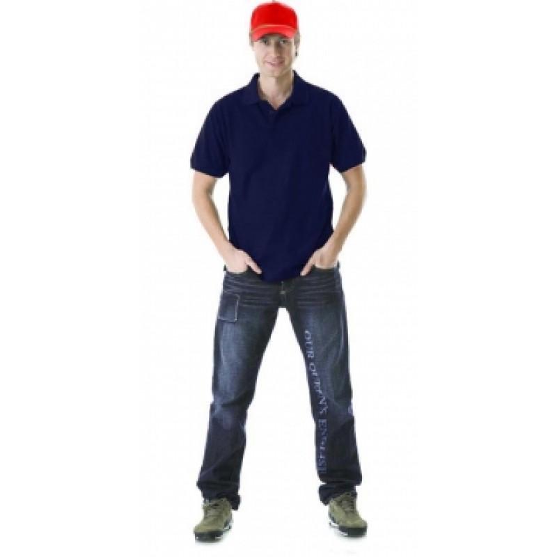 Рубашка-поло короткие рукава дабл тёмно-синяя, пл. 205 г/кв.м.