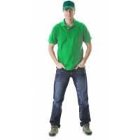 Рубашка-поло короткие рукава светло-зелёная, пл. 205 г/кв.м.