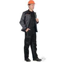 """ПРЕСТИЖ костюм, куртка, п/к """"Престиж"""" чёрный, цв. серый с оранжевым кантом"""
