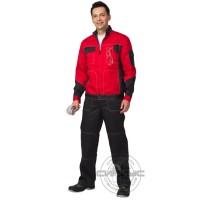 ГРАНД костюм летний, куртка, полукомбинезон чёрный с красным тк. CROWN-230