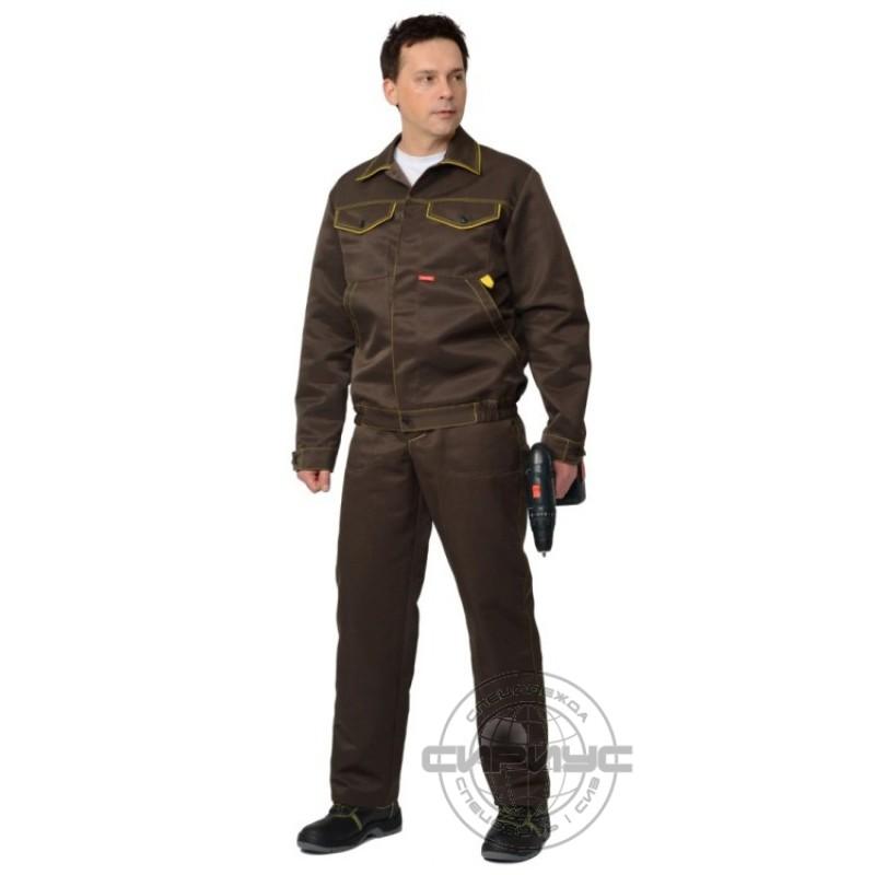 ДОКЕР костюм летний, куртка кор., п/комб. коричневый с желтым тк.CROWN-230