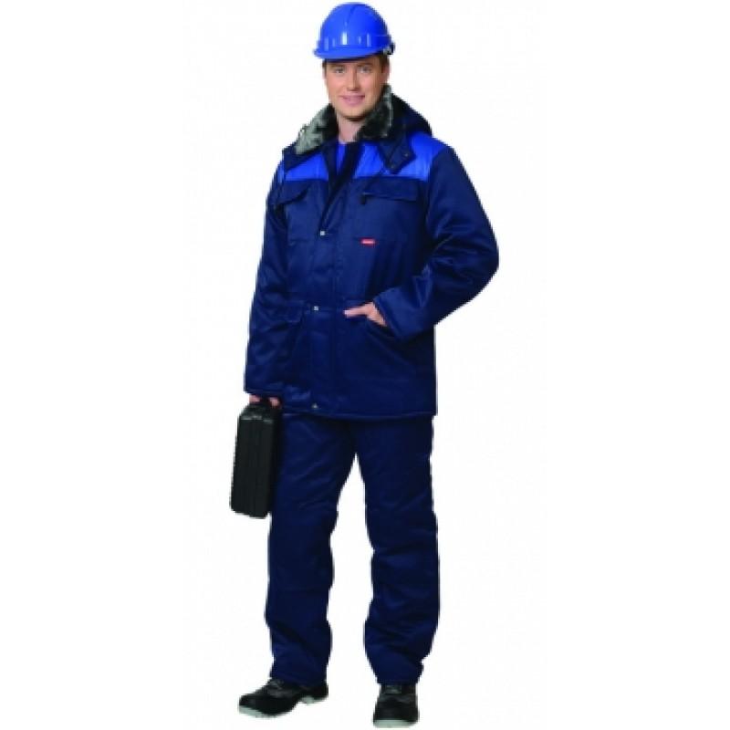 ПРОФЕССИОНАЛ костюм зимний, куртка дл., брюки тёмно-синий с васильковым