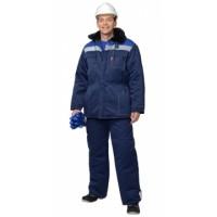 ЛЕГИОНЕР костюм зимний, куртка дл., брюки темно-синий с васильковой кокеткой