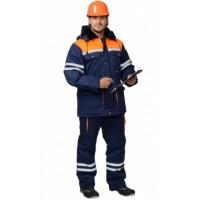 ЛИДЕР костюм зимний, куртка дл., полукомбинезон синий с оранжевым и СОП