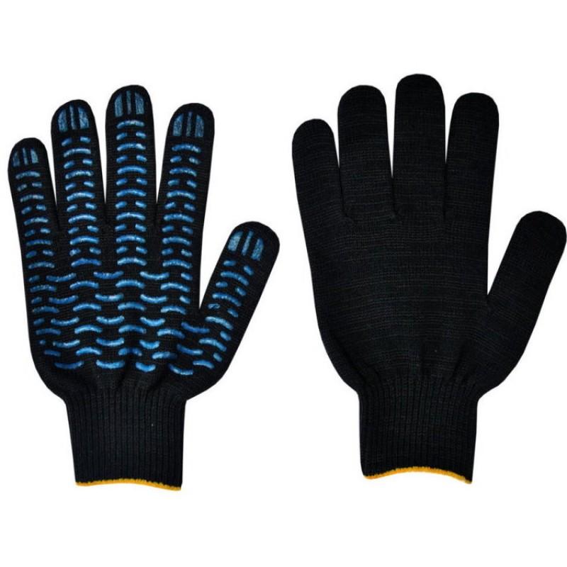 ВОЛНА перчатки х/б с ПВХ черные 5-ти нитка