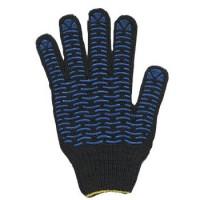 ВОЛНА перчатки хб с ПВХ черные 5-ти нитка
